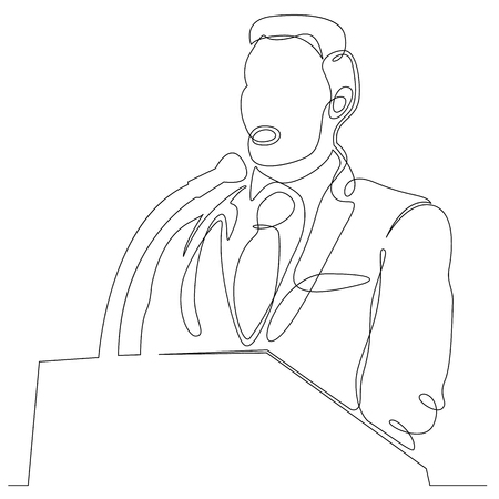 Continuous one single line drawn character politics of business coach speaking before audience. Political meeting, speech. Illustration