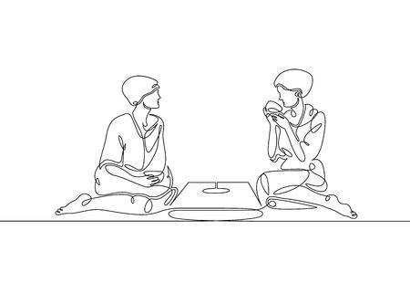 Une seule ligne continue tracée par deux filles dans un sauna, un hammam, une douche. Thé chinois chinois à boire.