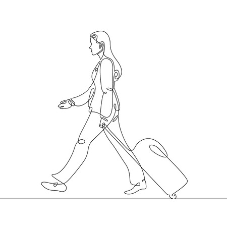Continuous single one line drawn line of a passenger suitcase luggage. Vectores