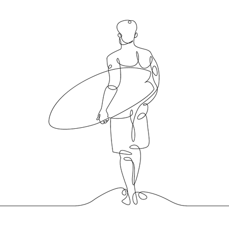 Continuous one single drawn line of a surfer with a surfboard on the beach Ilustração
