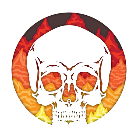 Isolated vector image of a skull on a background of infernal mountains. Round sign icon paper art craft design style illustration.