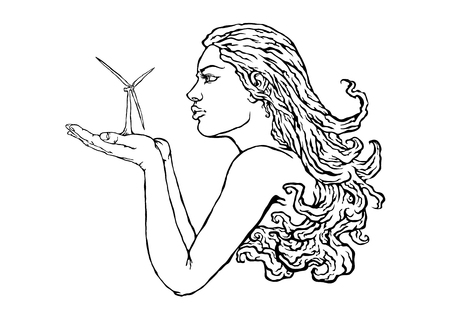 Isolated closed continuous one line drawn girl blowing in the palm of wind energy. The concept of ecology and safe energy. Portrait of a girl with magnificent hair