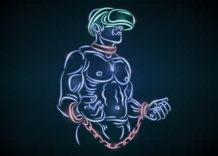 Slave man in chains and helmet glasses virtual reality. Man wearing VR glasses. Abstract world with neon lines vector illustration.