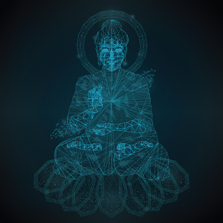 Abstract low polygon is an image of Buddha