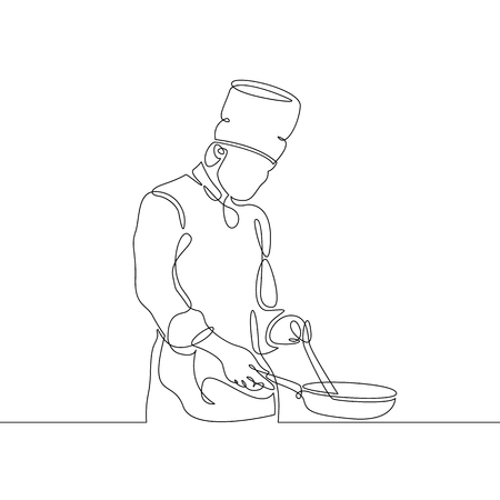 Continuous line drawing of chef cooking gourmet meal, prepping food. Illustration