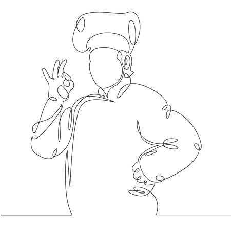 Continuous line drawing of chef cooking gourmet meal, prepping food. 일러스트