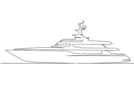Continuous one line drawing of sailboat yacht modern.