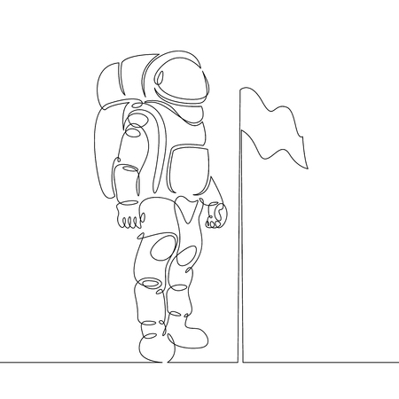 Outline drawing of an astronaut