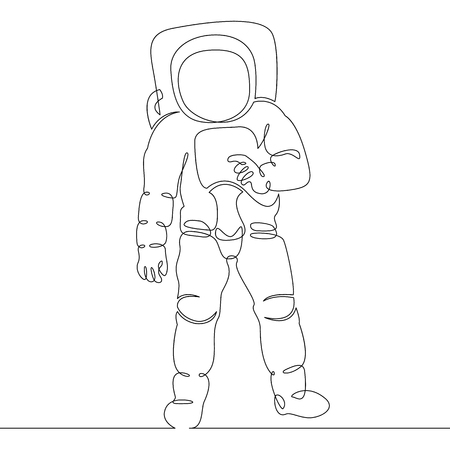 Astronaut in space continuous line illustration.