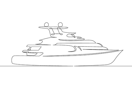 Modern yacht continuous line illustration.