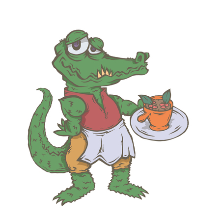 Vector isolated image of the character of the animal cook. National cuisine. Gastronomy. Crocodile, brazil, feijoada