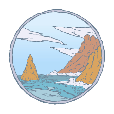 Vector color image of sea waves of rocks and clouds on a round sky background