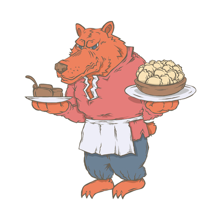 Vector isolated image of the character of the animal cook. Bear with his dumplings.