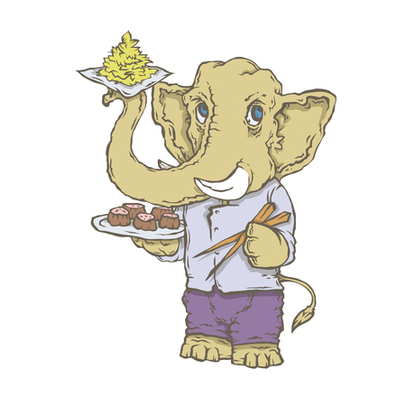 Vector isolated image of the character of the animal cook. National cuisine. Elephant with pad thai. Illustration