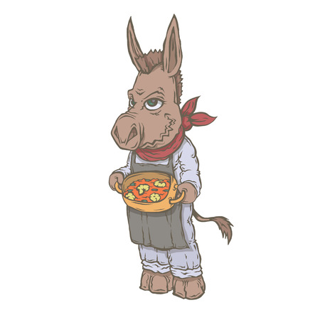 Vector isolated image of the character of the animal cook. National cuisine, donkey in Spain with his Paella. Banque d'images - 96952159