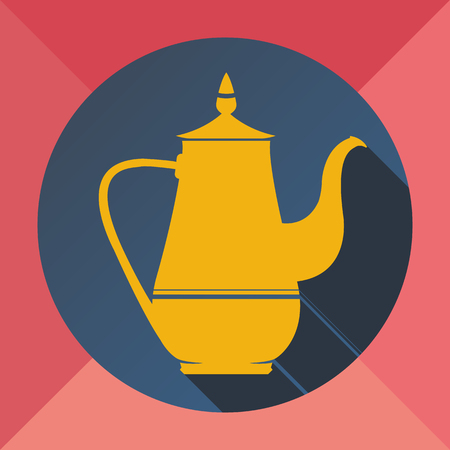 The color yellow pink blue flat image kettle for making tea and coffee on a colored background Ilustração