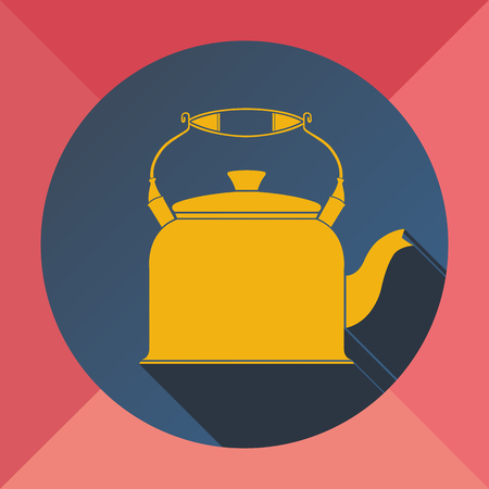 The color yellow pink blue flat image kettle for making tea and coffee on a colored background Иллюстрация