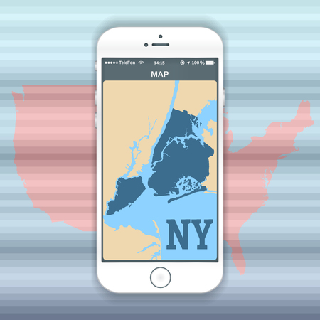 Vector color image of a white cell phone smart phone with a picture of a New York map on the screen