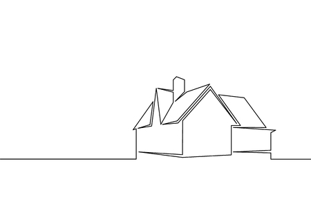 One line logo design of real estate house market agency Vectores