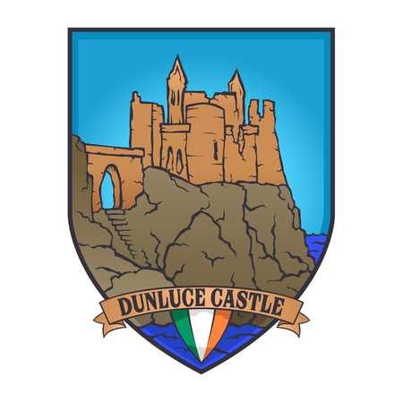 Color vector designs illustrated an Irish castle and flag of Ireland on a shield,dunluce castle