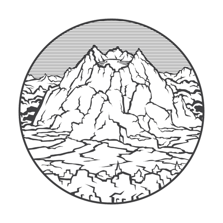 Vector image of a volcano Pinatubo on the background of nature and sky.round black white icon thumbnail
