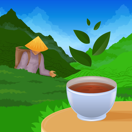 Colored illustration depicting tea pickers on the background of nature and tea plantations in the foreground cup of tea on the table