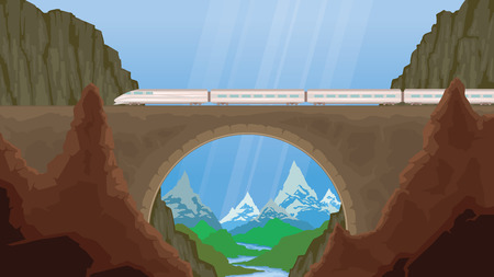 Flat vector web banner on the theme of travel by train, steam locomotive, vacation, mountain landscape, railway, adventure. The bridge, mountain railway. Illustration