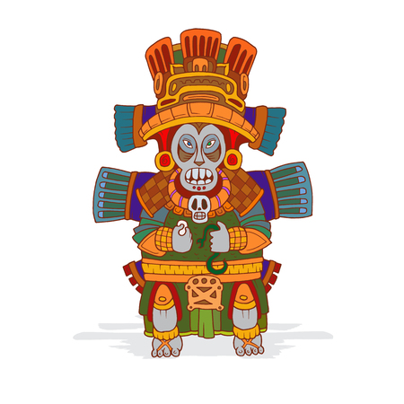 Colorful image of an ancient Mexican Indians idol.