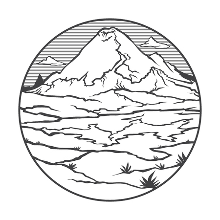 Image of a volcano Ruiz on the background of nature and sky, round black white icon thumbnail.