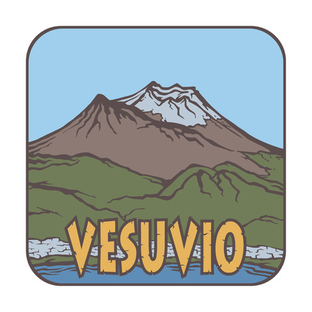 Image of a volcano Vesuvio on the background of nature and sky, square color thumbnail icon. Vettoriali