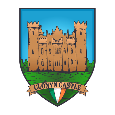 Color vector designs illustrated an Irish castle and flag of Ireland on a shield.