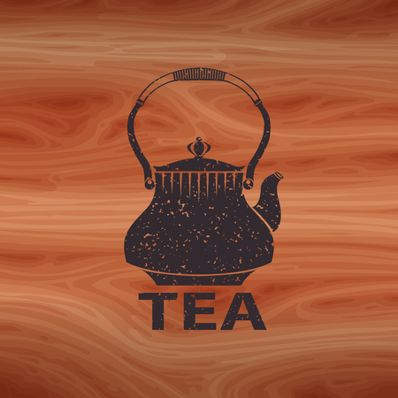 Silhouette of a teapot with noise and scratches on color vector wooden background texture.