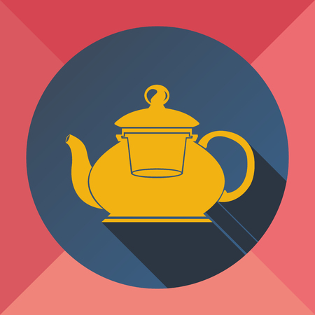 The color yellow pink blue flat image kettle for making tea and coffee on a colored background.