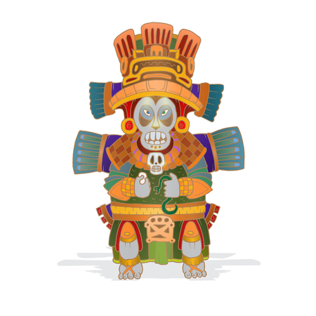 Color vector image of an ancient Mexican Indians idol. 일러스트