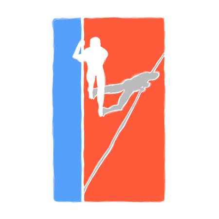Color vector image of an athlete pole vaulter.red white and blue rectangle silhouette boys athletes Foto de archivo - 98355558