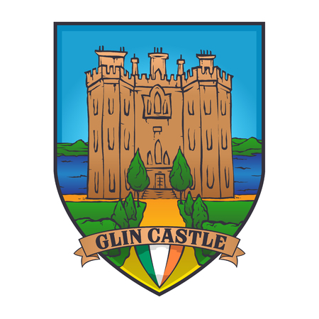 Color vector designs illustrated an Irish castle and flag of Ireland on a shield,glin castle