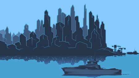 Vector image of the silhouette of the city metropolis. Reflection in the river bay views. In the port the ship pier.Blue. Cater. Powerboat