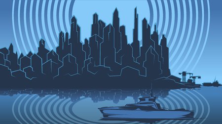 Vector image of the silhouette of the city metropolis. Reflection in the river bay views. In the port the ship pier.