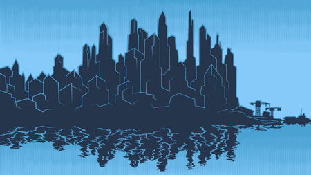 Vector image of the silhouette of the city metropolis. Reflection in the river bay views. In the port the ship pier.Blue heaven white Vettoriali