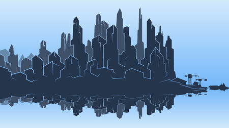 Vector image of the silhouette of the city metropolis. Reflection in the river bay views. In the port the ship pier.Blue heaven white Illustration