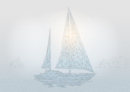 Polygonal Sailing yacht. Sea business concept. Vector Sailboat mesh spheres from flying debris. Thin line concept. Blue structure style illustration Ilustração