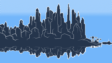 Vector image of the silhouette of the city metropolis. Reflection in the river bay views. In the port the ship pier.Blue heaven white Illusztráció