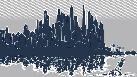 Vector image of the silhouette of the city metropolis. Reflection in the river bay views. In the port the ship pier.Blue Grey Buoy Illustration