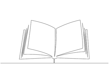 Opened book with pages isolated on white. Continuous line drawing Vector illustration Vettoriali
