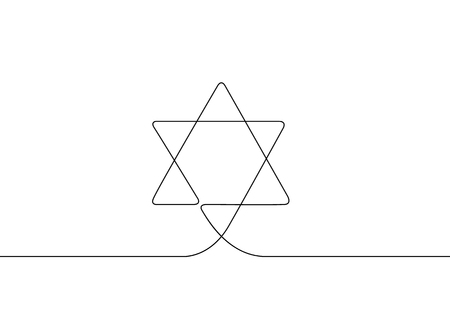 Continuous Drawn One Line Isolated Symbol Of The Emblem Of Religion