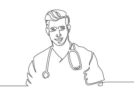 Continuous one line drawing of a doctor is a therapists doctor in a medical uniform and a stethoscope. Stock Photo