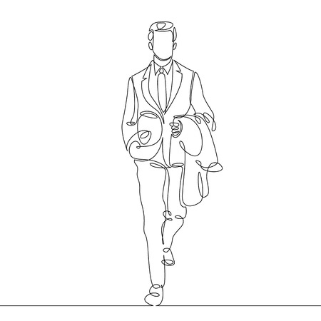 Continuous single one line drawn line Businessman going to work