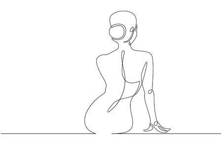 Continuous line drawing. Woman sitting back. Vector Illustration. Ilustração