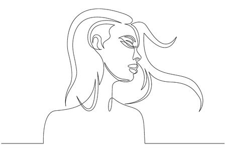 Continuous line drawing. Abstract portrait of a woman side view. Vector illustration. Illusztráció