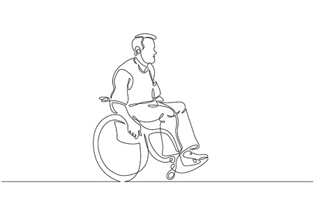 Continuous one line drawing. Disabled man on wheelchair enjoy with moving. Vector illustration total editable, choose thickness and place of line Stock Illustratie
